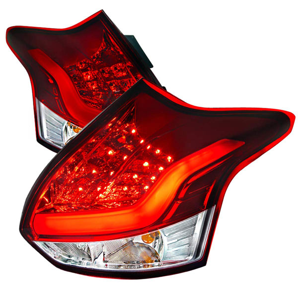 Spec-D Tuning LT-FOC125RLED-TM |  Ford Focus 5 Door Led Tail Lights Red; 2012-2014