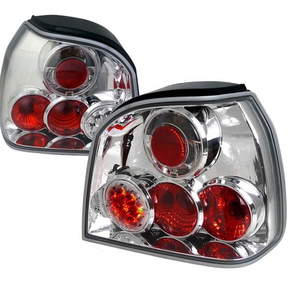 Spec-D Tuning LT-GLF93CLED-TM |  Volkswagen Golf Led Tail Lights Chrome Housing; 1993-1998