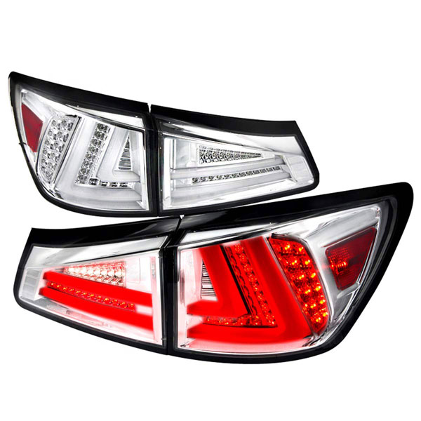 Spec-D Tuning LT-IS25006CLED-TM |  Lexus Is250 Led Tail Lights Chrome; 2006-2008