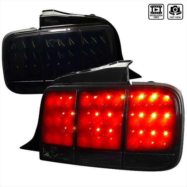 Spec-D Tuning LT-MST05BBLED-SQ-TM |  Ford Mustang Led Tail Lights Glossy Black Housing With Smoke Lens; 2005-2009