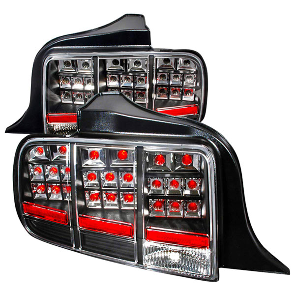 Spec-D Tuning LT-MST05JMLED-KS |  Ford Mustang Led Tail Lights Black; 2005-2009