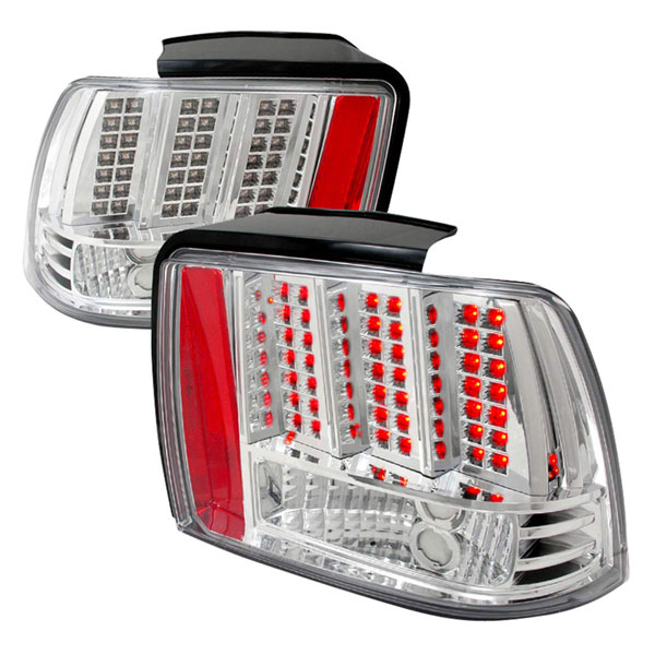 Spec-D Tuning LT-MST99CLED-DP |  Ford Mustang Led Tail Lights Chrome, 99-04