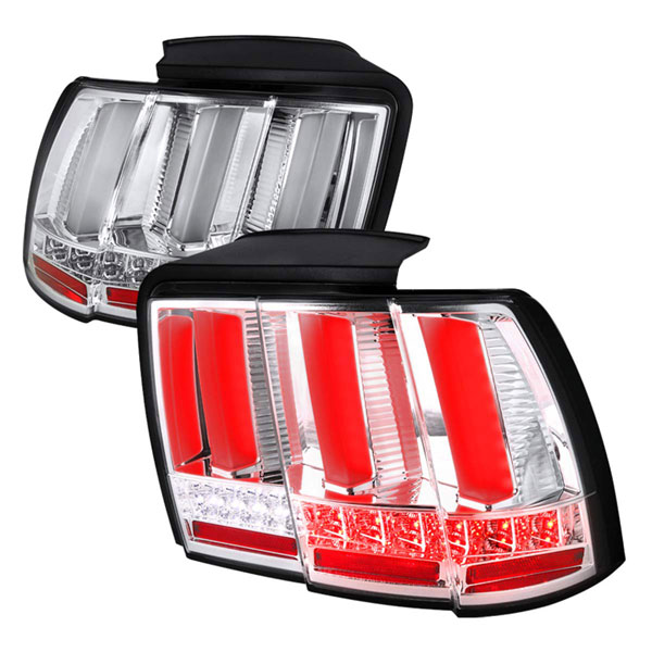Spec-D Tuning (LT-MST99CLED-SQ-TM)  Ford Mustang Ford Mustang Sequential Led Tail Light - Chrome, 99-04