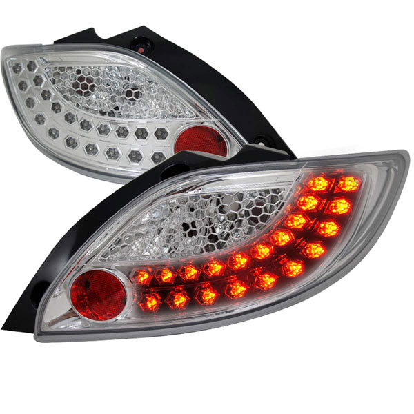 Spec-D Tuning LT-MZD211CLED-TM |  Mazda 2 Chrome Led Tail Lights; 2011-2012
