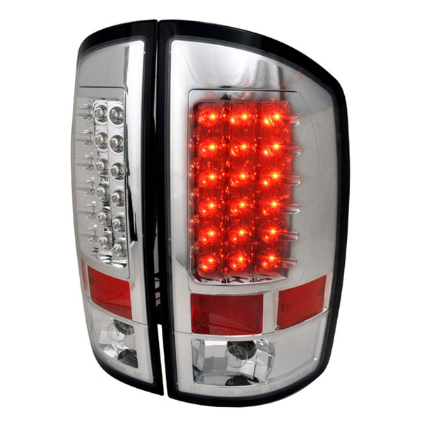 Spec-D Tuning LT-RAM02CLED-TM |  Dodge Ram Led Tail Lights Chrome; 2002-2006