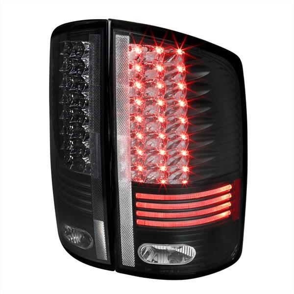 Spec-D Tuning LT-RAM02JMLED-RS |  Dodge Ram Led Tail Lights Black, 02-05