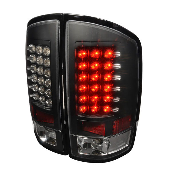 Spec-D Tuning LT-RAM02JMLED-TM |  Dodge Ram Led Tail Lights Black; 2002-2006