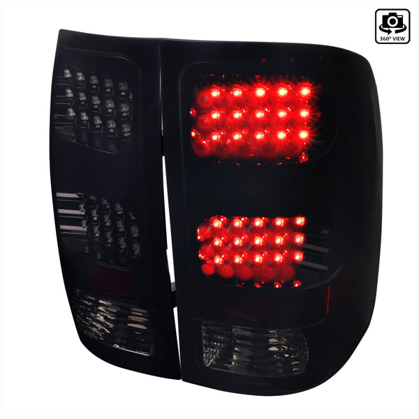Spec-D Tuning LT-SIE07BBLED-TM |  Gmc Sierra Led Tail Lights Glossy Black Housing With Smoke Lens; 2007-2012