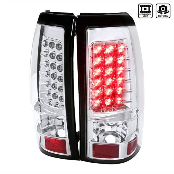 Spec-D Tuning LT-SIV03CLED-TM |  Silverado Led Tail Lights Chrome; 2003-2006
