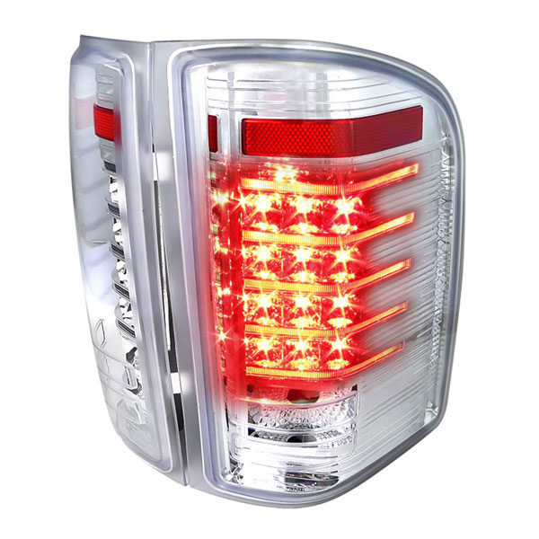 Spec-D Tuning LT-SIV07CLED-RS |  Silverado Led Tail Lights Chrome Housing; 2007-2012
