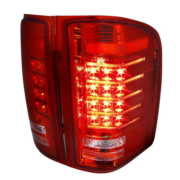 Spec-D Tuning (LT-SIV07RLED-RS)  Silverado Led Tail Lights Red Lens, 07-12