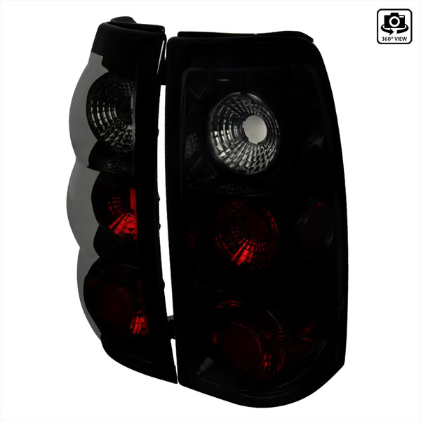 Spec-D Tuning LT-SIV99BB-TM |  Silverado Euro Tail Lights Glossy Black Housing With Smoke Lens; 1999-2002