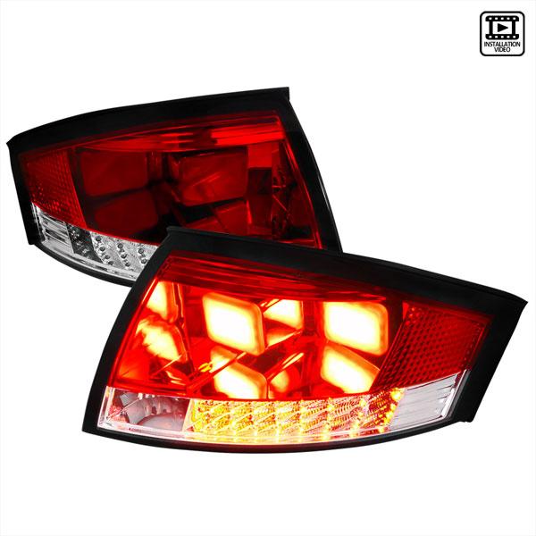 Spec-D Tuning LT-TT99RLED-V2-APC |  Audi Tt Led Tail Lights V2 Red Clear; 1999-2006