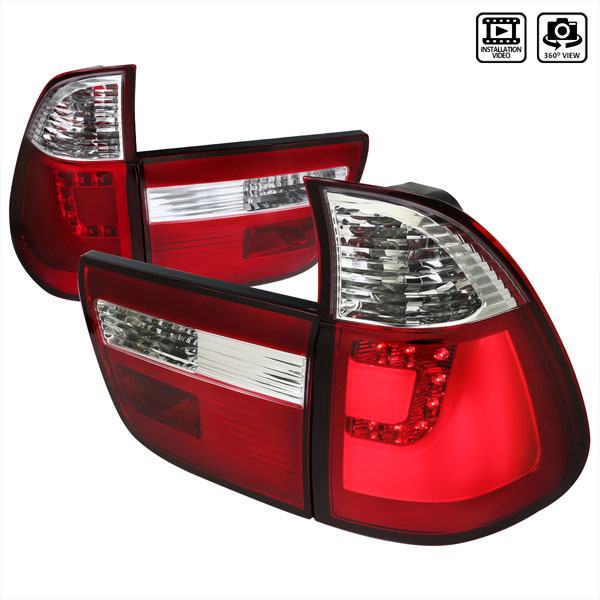 Spec-D Tuning LT-X500RLED-TM |  Bmw X5 Red Led Tail Lights; 2000-2006