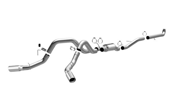 Magnaflow 16901 |  Exhaust System for GM DURAMAX DIESEL 6.6L Silverado/Sierra 2500HD/3500 CC/Shrt Bed 4in. TB SYSTEM Dual Split Rear Behind Tires Exit; 2001-2007