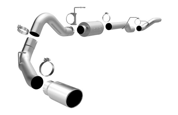Magnaflow 16941 |  Exhaust System for GM DURAMAX DIESEL 6.6L Silverado/Sierra 3500, 4in. CB SYSTEM 2006-2007 CC/LB Dually Clamp-on Tip Single Side Exit