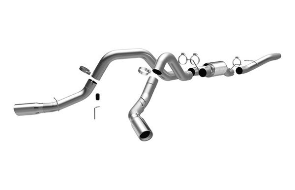 Magnaflow 16964:  Exhaust System for GM DURAMAX DIESEL 6.6L Silverado/Sierra 2500HD/3500 CC/Shrt Bed 4in. CB SYSTEM 2006-2007 Dual Split Rear Behind Tires Exit
