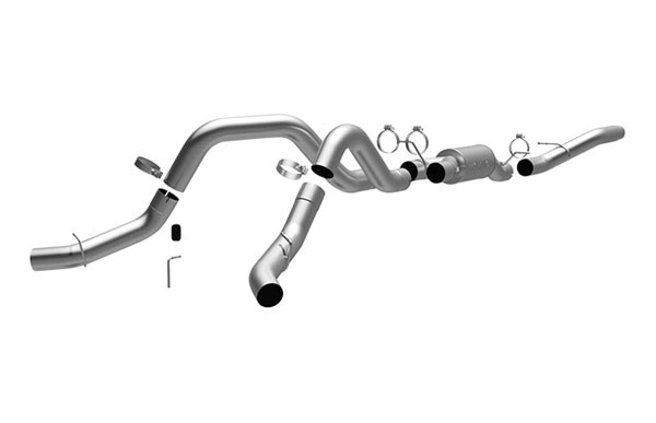 Magnaflow 17965:  Exhaust System for GM DURAMAX DIESEL 6.6L Silverado/Sierra 2500HD/3500 CC/Shrt Bed 4in. Cat-Back SYSTEM 2006-2007 Dual Split Rear (no Tip)