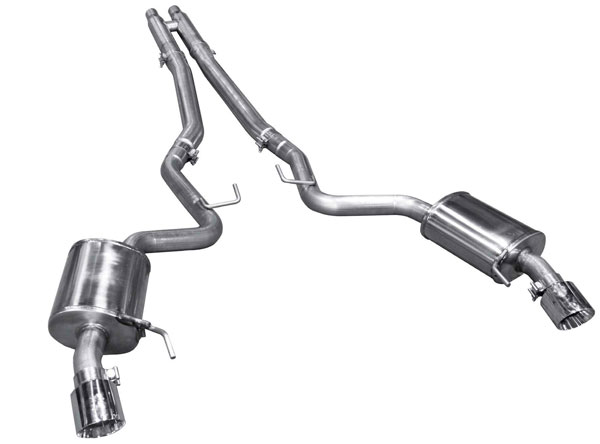 American Racing Headers MTC5-15212CTBK |  Mustang 5.0L Coyote Cat-Back With H-Pipe Pure Thunder Mufflers and 4in.Polisehd Tips; 2015-2017