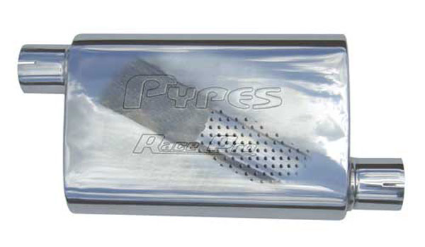 Pypes Exhaust MVR13 | Pypes Race Pro 14 2.5 off/center 409 Stainless non-polished; 1950-2011
