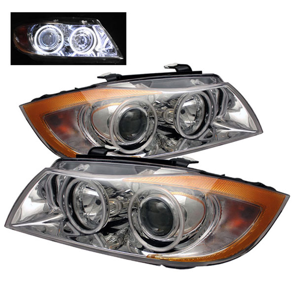 xTune (PRO-CL-BE9005-AM-C)  BMW E90 3-Series 06-08 4Dr CCFL Halo Projector Headlights - Chrome