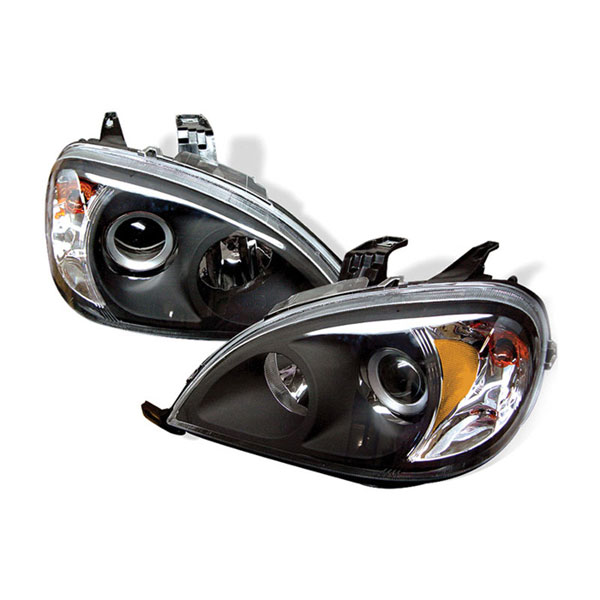 xTune PRO-CL-MBW16398-AM-BK:  Mercedes Benz W163 M-Class 98-05 Amber Projector Headlights - Black