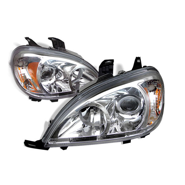 xTune PRO-CL-MBW16398-AM-C:  Mercedes Benz 98-01 M Class Projector Headlights (amber) - Chrome