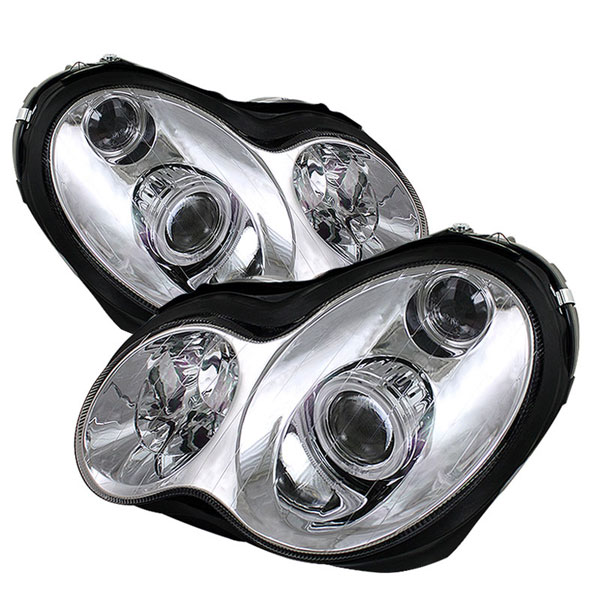 xTune PRO-CL-MW20301-HL-C |  Mercedes Benz W203 C-Class ( 4 Door Only ) Halo Projector Headlights - Chrome; 2001-2005