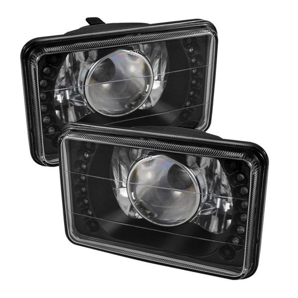 xTune PRO-JH-4X6-LED-BK |  Universal 4x6 Inch Projector Headlights W/LED - Black; 2000-2013