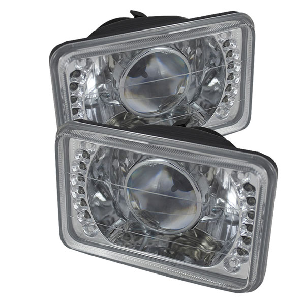 xTune PRO-JH-4X6-LED-C | Universal 4x6 inch Projector Headlights W/LED - Chrome; 2000-2013