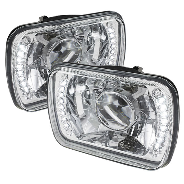 xTune PRO-JH-7X6-LED-C |  Universal 7x6 Inch Projector Headlights W/LED - Chrome