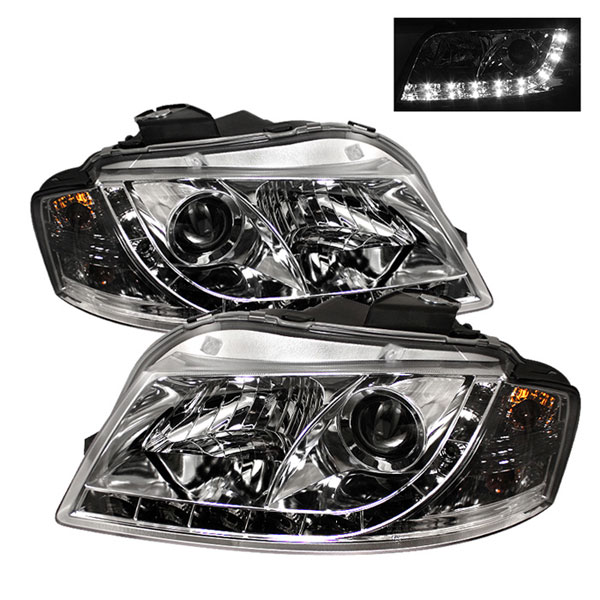 Spyder PRO-YD-AA306-DRL-C:  Audi A3 06-08 DRL LED Projector Headlights - Chrome