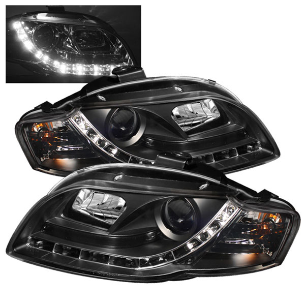 Spyder 5008572 |  Audi A4 ( Will Not Fit Convertible ) DRL LED Projector Headlights - Black - (PRO-YD-AA405-DRL-BK); 2006-2008