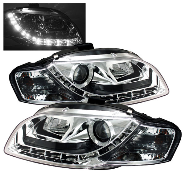 Spyder PRO-YD-AA405-DRL-C:  Audi A4 06-08 ( Will Not Fit Convertible ) DRL LED Projector Headlights - Chrome