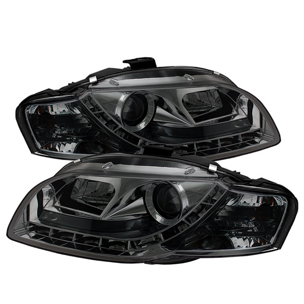 Spyder 5033826:  Audi A4 06-08 ( Will Not Fit Convertible ) DRL LED Projector Headlights - Smoke  - (PRO-YD-AA405-DRL-SM)