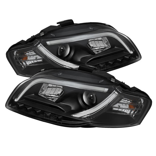 Spyder PRO-YD-AA405-LTDRL-G2-BK:  Audi A4 06-08 ( Will Not Fit Convertible ) Light Tube DRL LED Projector Headlights - Black