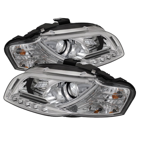 Spyder PRO-YD-AA405-LTDRL-G2-C:  Audi A4 06-08 ( Will Not Fit Convertible ) Light Tube DRL LED Projector Headlights - Chrome
