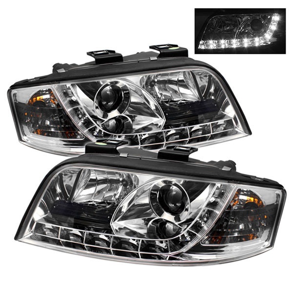 Spyder PRO-YD-ADA601-DRL-C:  Audi A6 02-04 DRL LED Projector Headlights - Chrome