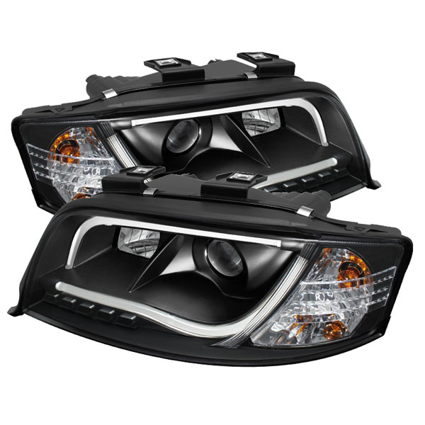 Spyder PRO-YD-ADA601-LTDRL-BK:  Audi A6 02-04 Projector Headlights - Halogen Model Only ( Not Compatible with Xenon/HID Model ) Light Tube DRL - Black - High H1 (Included) - Low H1 (Included)