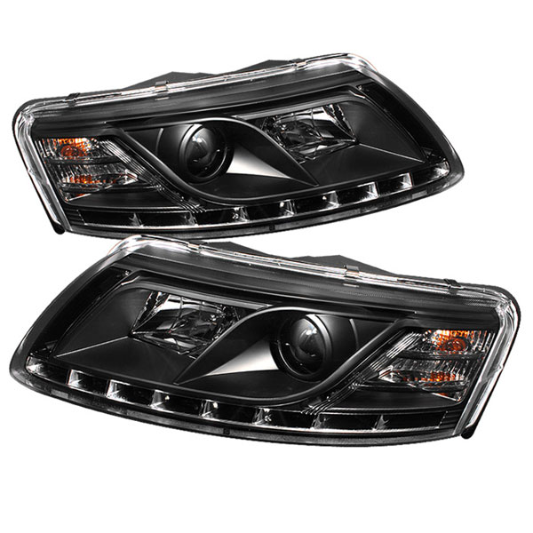 Spyder 5029416 |  Audi A6 ( Non Quattro with AFS ) DRL LED Projector Headlights - Black - (PRO-YD-ADA605-DRL-BK); 2005-2007