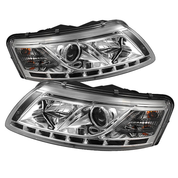 Spyder PRO-YD-ADA605-DRL-C:  Audi A6 05-07 ( Non Quattro with AFS ) DRL LED Projector Headlights - Chrome