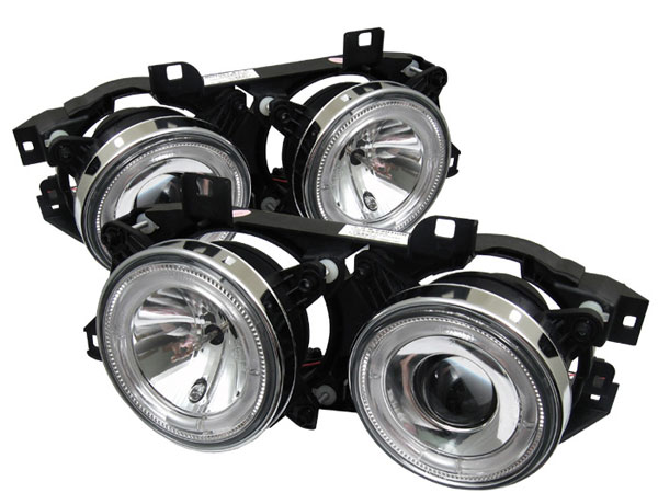 Spyder 5008732:  BMW E34 5-Series 89-94 / BMW E32 7-Series 88-92 (not Fit 750) Projector Headlights- Chrome  - (PRO-YD-BMWE34-HL-C)