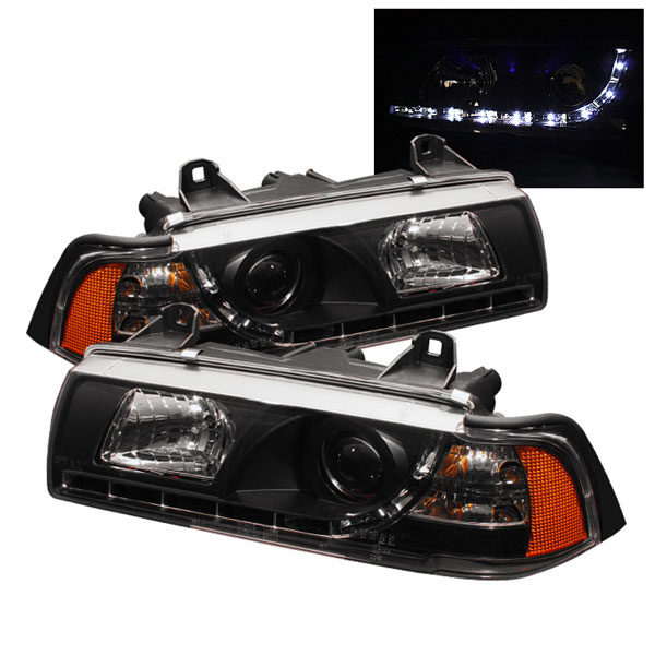 Spyder PRO-YD-BMWE36-2D-DRL-BK:  BMW E36 3-Series 92-98 2Dr ( Do Not Fit TI Model ) 1PC DRL LED Projector Headlights - Black
