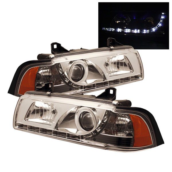 Spyder PRO-YD-BMWE36-2D-DRL-C:  BMW E36 3-Series 92-98 2Dr ( Do Not Fit TI Model ) 1PC DRL LED Projector Headlights - Chrome