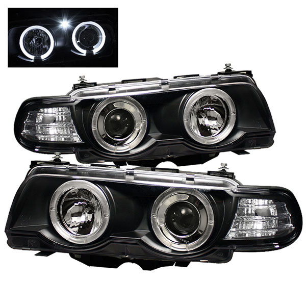 Spyder PRO-YD-BMWE3899-HID-HL-BK:  BMW E38 7-Series 99-01 HID TYPE 1PC Halo Amber Projector Headlights - Black