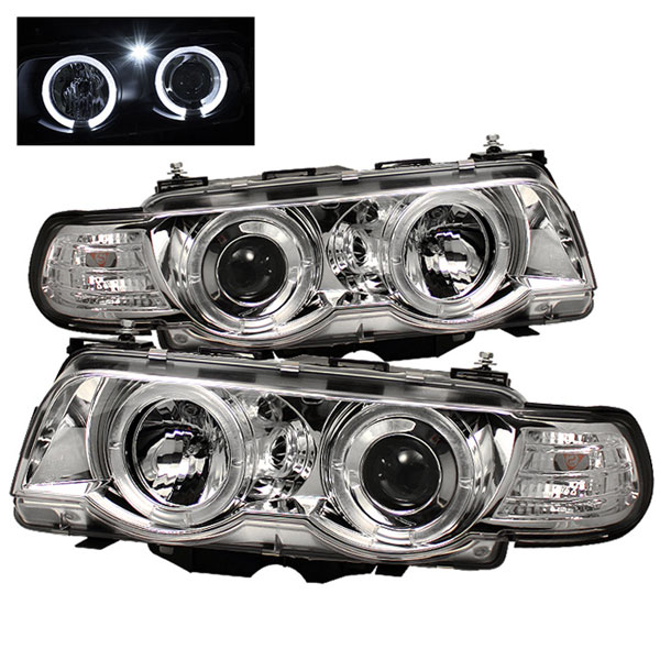 Spyder PRO-YD-BMWE3899-HID-HL-C:  BMW E38 7-Series 99-01 HID TYPE 1PC Halo Amber Projector Headlights - Chrome