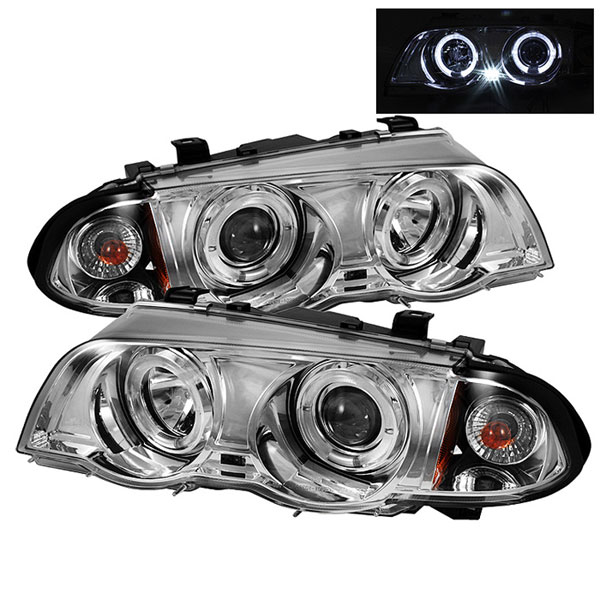 Spyder PRO-YD-BMWE46-4D-HL-AM-C:  BMW E46 3-Series 99-01 4Dr 1PC Halo Amber Projector Headlights - Chrome