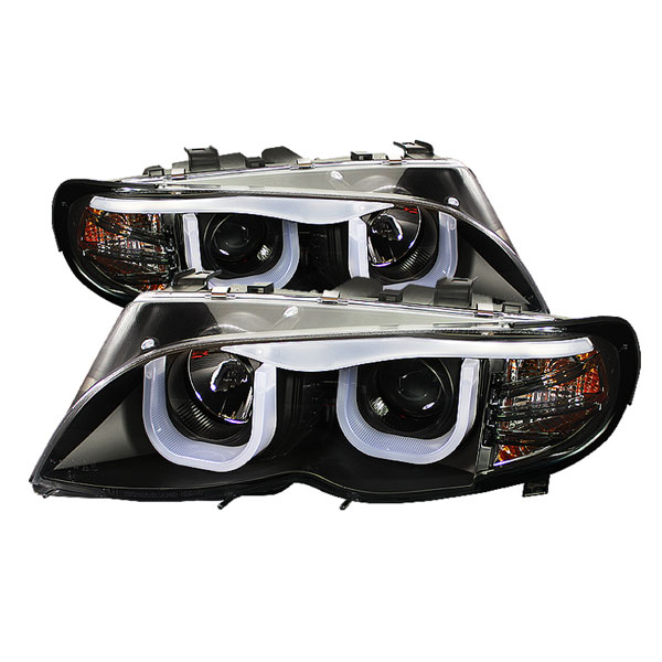 Spyder (5031877)  BMW E46 3-Series 02-05 4DR 1PC 3D DRL Projector Headlights - Black  - (PRO-YD-BMWE4602-4D-3DDRL-BK)