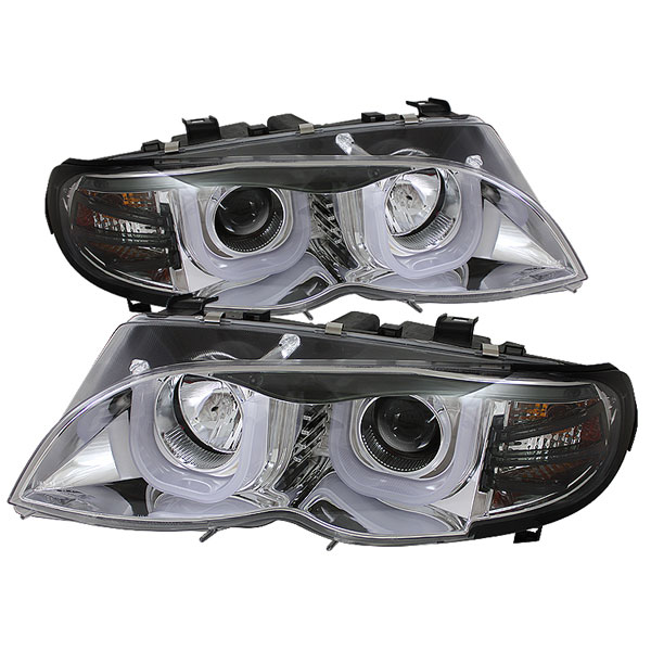 Spyder PRO-YD-BMWE4602-4D-3DDRL-C:  BMW E46 3-Series 02-05 4DR 1PC 3D DRL Projector Headlights - Chrome