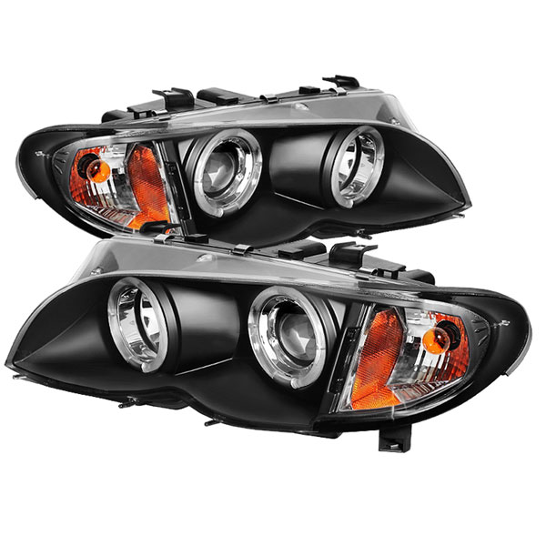 Spyder PRO-YD-BMWE4602-4D-AM-BK:  BMW E46 3-Series 02-05 4DR 1PC Halo Projector Headlights - Black